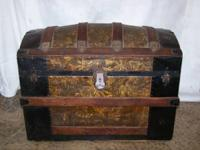 ANTIQUE ROUND-TOP STEAMER TRUNK.  BELONGED TO
