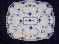 This beautiful cake dish is the Blue Fluted, Full Lace