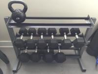 For sale, body-solid dumbbell rack and set of rubber