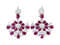 Stunning drop earrings with multi shape rubies and