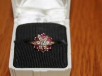 Ruby & Diamond Cluster Cocktail Ring - Valued at