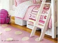 Pottery Barn Kids Puffy Dot Wool Rug 5x7 Pink. New and