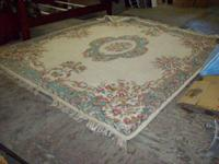 Hand looped wool carpet, made in India, stated on tag,