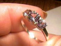 Russian Alexandrite Ring 8 SILVER full color change