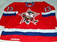 This is a real RUSSIAN PENGUINS game used jersey from