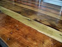 This table is rustic barn wood and it is heavy duty!