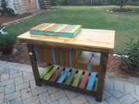 Patio cooler with side table and shelving. Painted and