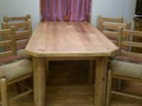 Solid pine dining table, 6ft X 3ft 2in, 6 chairs. All