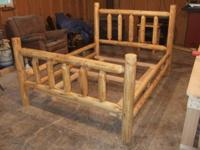 "RUSTIC HANDMADE PINE LOG BEDS. HEADBOARD IS 48"" TALL"