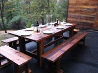 "96""x40"" Beautiful Rustic Farm Table and Benches. Just"