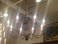 Rustic Iron Eight Lite Chandelier With Clock Face $395