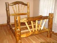 Queen log bed frame complete with headboard, footboard,