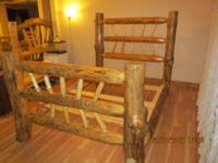 Queen size log bed frame complete with headboard,