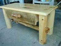 RUSTIC LOG COFFEE TABLE WITH A DRAWER 20X36X18..ALL