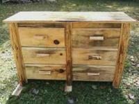 RUSTIC 6 DRAWER DRESSER 54X18X28..ALL BLUE STAIN PINE