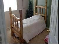 Great shape, mattress hardly used, bed measures 44""