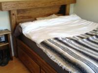 Custom built, rustic/ranch style bed frame. Queen size.