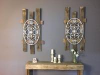 White distressed iron over reclaimed wood. Price is for