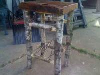 RUSTIC WHITE BIRCH ENDTABLE.IS 26X16X18..CUT AND