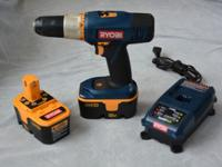 RYOBI 2 SPEED DRILL WITH TWO 18 VOLT BATTERIES AND