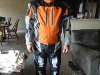Jacket is XL Pants are Large These make AWESOME riding