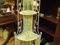 This hand painted floral corner shelf is adorable! Sage