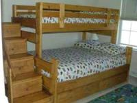 Solid wood bunk bed with side stairs (drawers in each