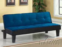 New adjustable futon in blue. Great for a youth bedroom