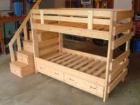 Solid wood bunk bed with side stairs for safe climbing