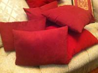 Nice Burgandy family combined pillow set. you get all 6