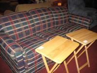 SALE on a great sleeper sofa-- plaid design and in good