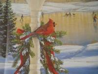 BEAUTIFUL WINTER PRINT BY SAM TIMM SHOWING CARDINAL IN