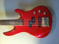 I'm selling my cherry red Samick 5-string bass. She has