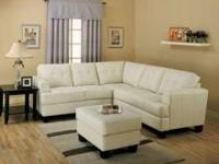 The Samuel 100% bonded leather (CREAM) sectional offers