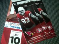 I have 3 49ers vs Cardinals tickets in Arizona on