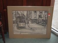 SAN FRANCISCO STREET CAR CHARCOAL PRINT SIGNED BY