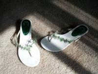 Avon white sandals with green gemstones and metal chain