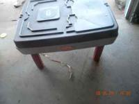 Plastic standing sandbox with drain and lid. call, text