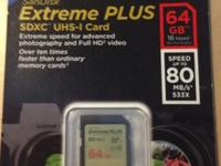Selling a SanDisk Extreme PLUS SDXC UHS-I 64GB card in