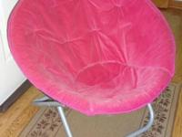 Pink saucer chair. Tough to find these pink ones. like