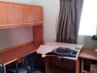 "1 - 60"" desk 1 - 60"" lighted 2 door hutch 1 - 36"" desk"