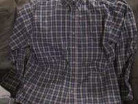 Very nice blue plaid men's long-sleeved shirt in great