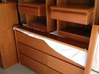 Full size bed frame, side tables, 2 chests of drawers,