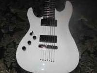 Beautiful White Schecter 7 string c7 lh guitar LEFTY