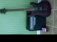 Schecter Omen 6 Walnut Satin in color and a Digitech