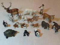 Lot of Scleich animals and one wood cutter. Elk, polar