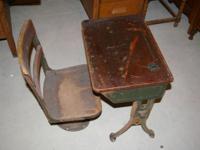 School desk and Chair Desk is adjustable Just needs