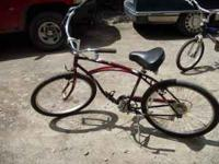 Schwinn beach bike, like new condition, maroon color,