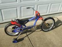 Schwinn Stingray 16' aluminum rims. Bike has built in