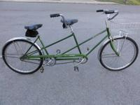 Schwinn Twin Tandem bicycle this is a forest green